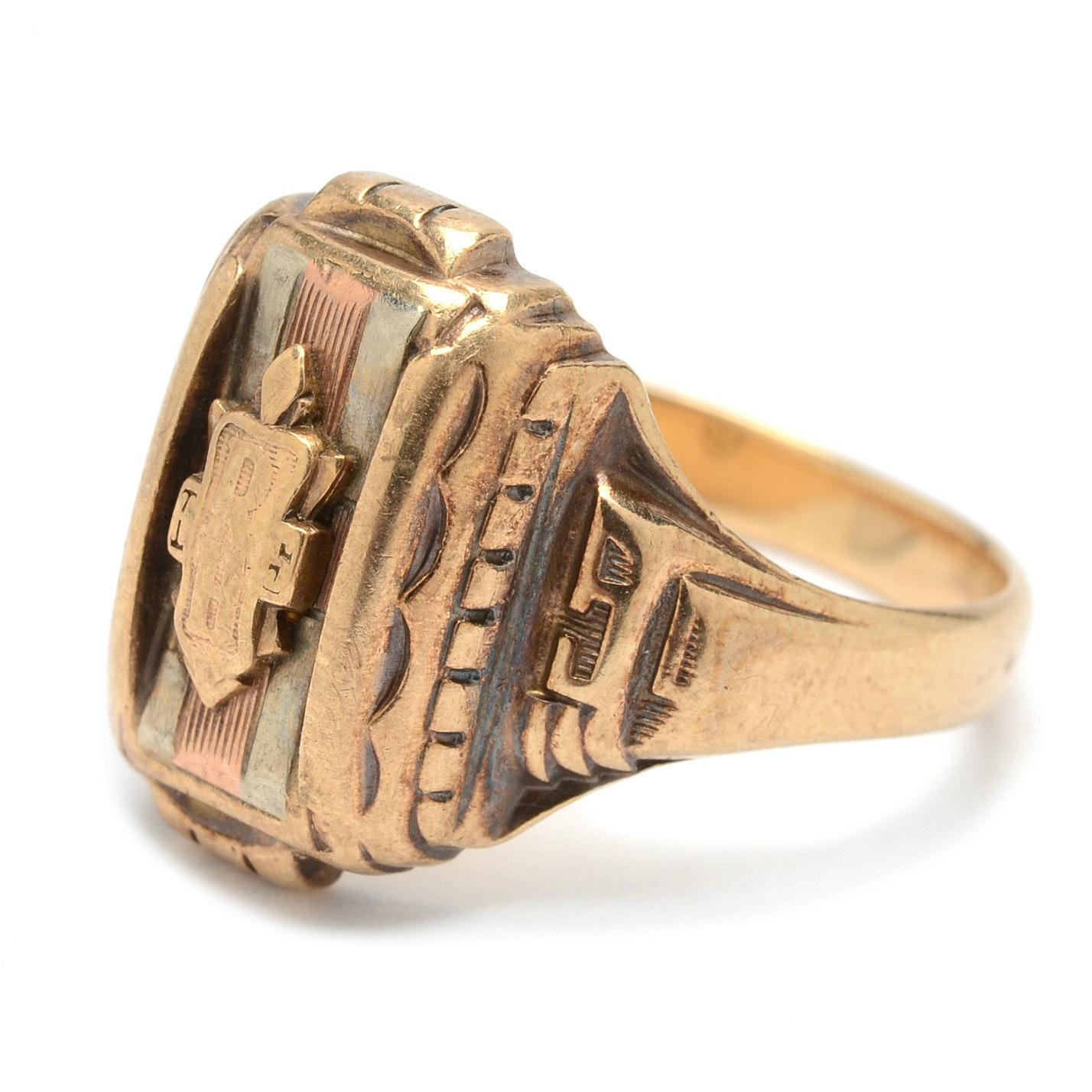 "Vintage 10K Yellow Gold ""Josten"" Designer School Ring"