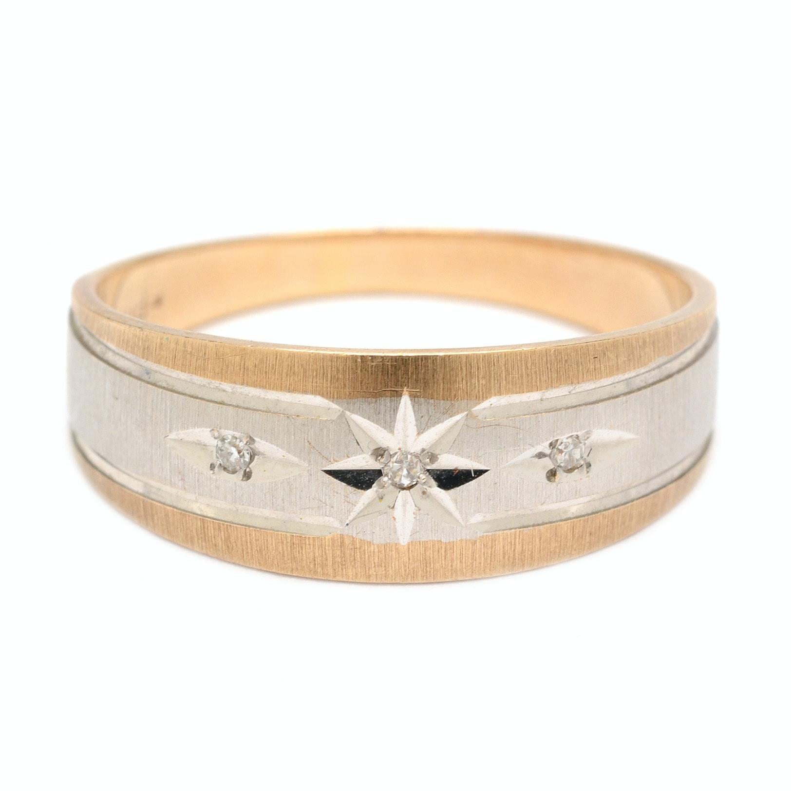 10K Yellow Gold and Diamond Ring Band