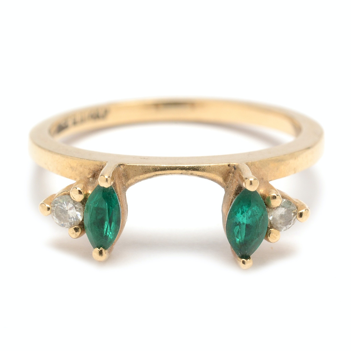 14K Yellow Gold Diamond and Emerald Ring Guard