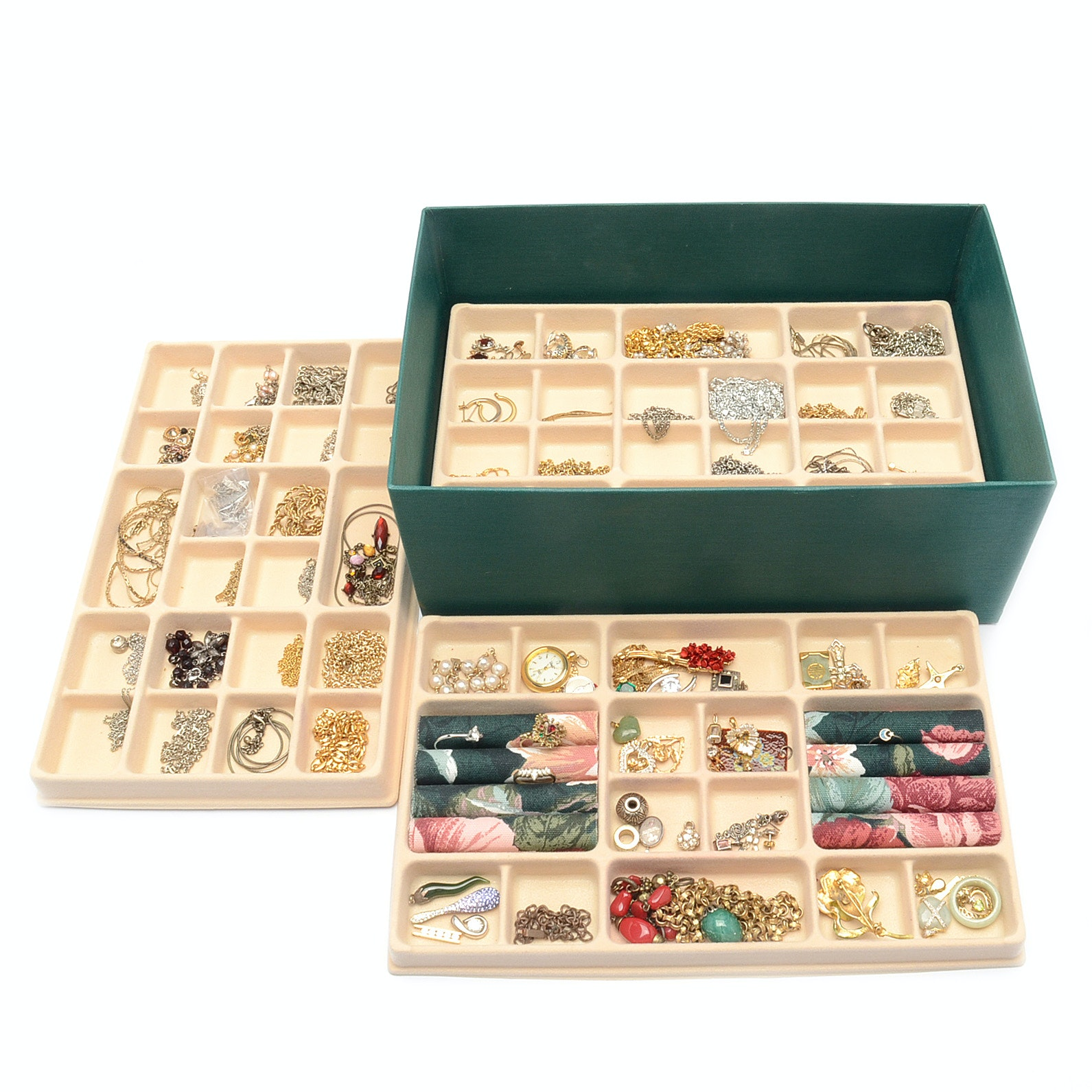 Large Assortment of Gold and Silver Tone Jewelry in a Four Layer Jewelry Chest