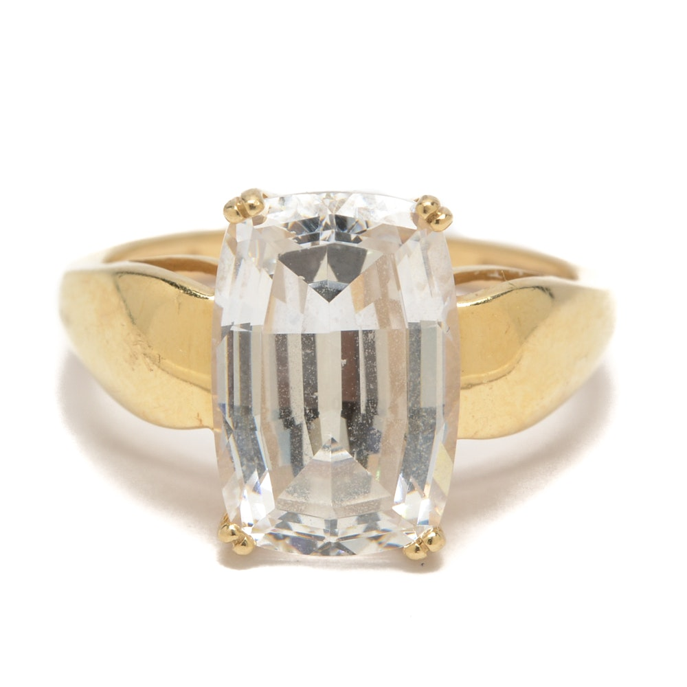 14K Yellow Gold Ring with Cubic Zirconia Solitaire