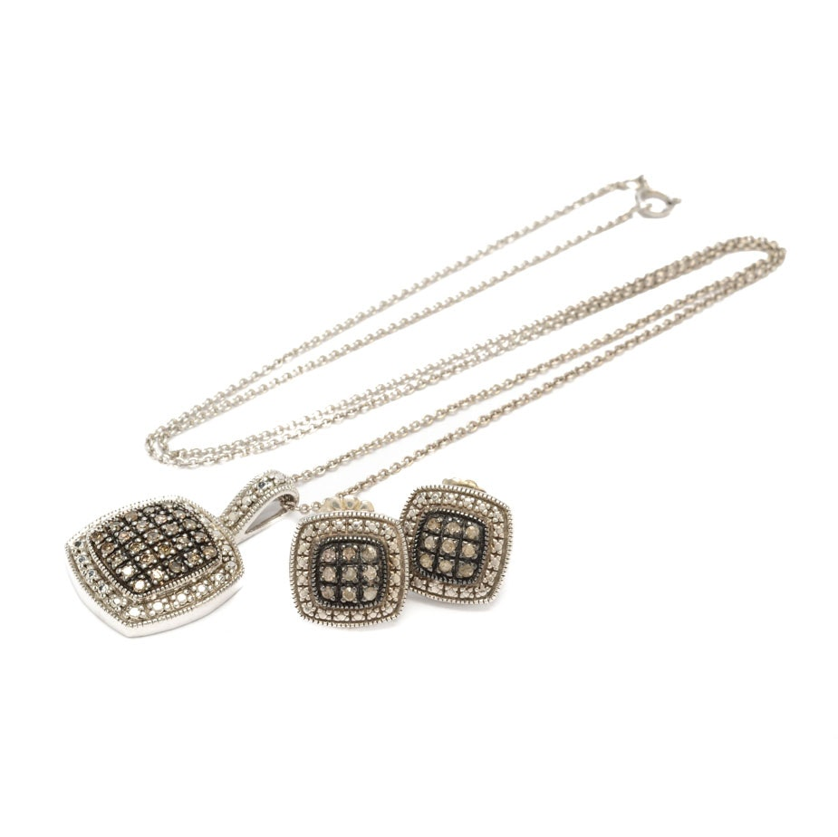 Sterling Silver and Light Brown Diamond Pendant and Earrings Set