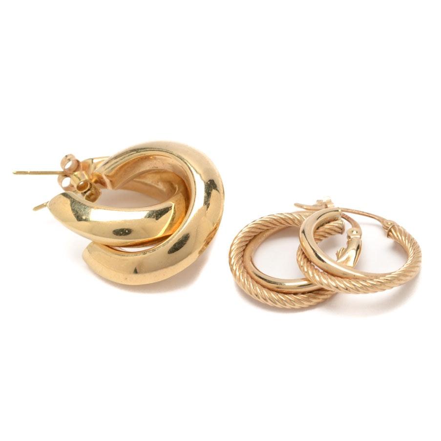 10K Yellow Gold Pairing of Hoop Earrings