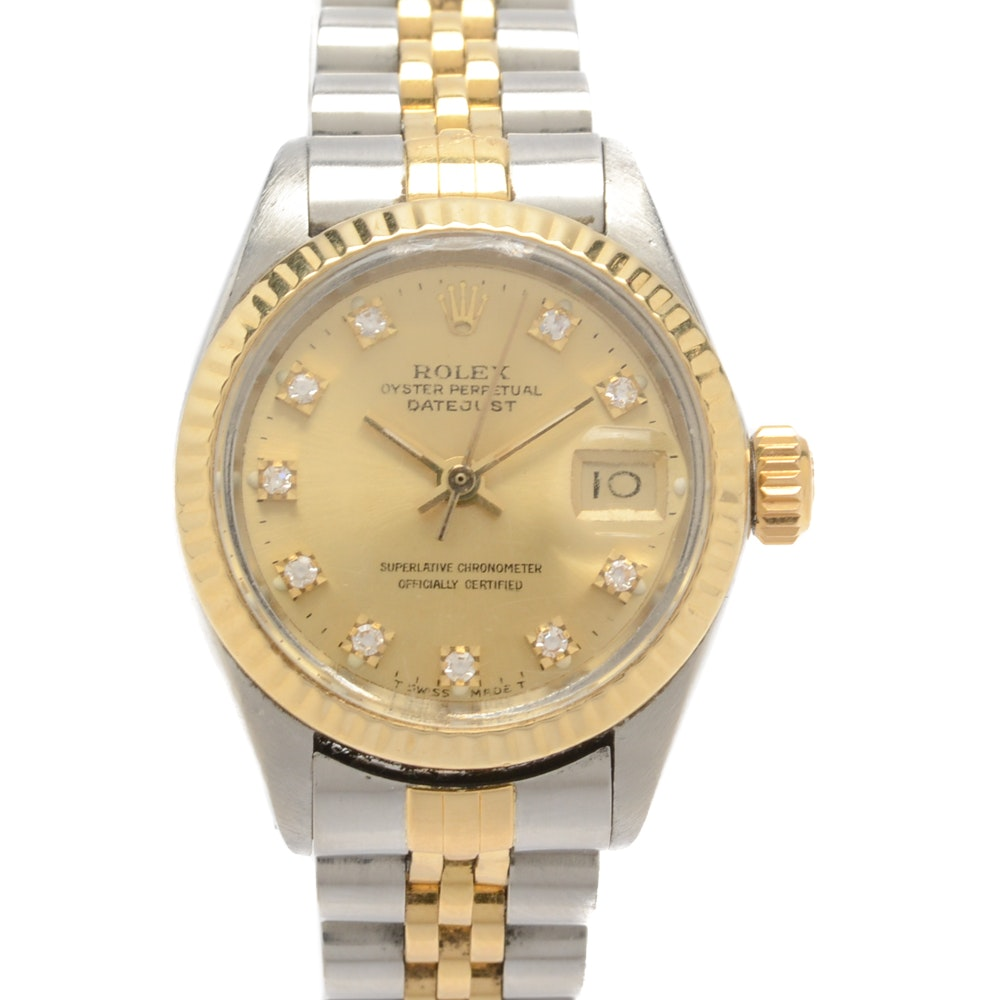 Rolex Oyster Perpetual Date Just 18K Yellow Gold and Diamond Wristwatch