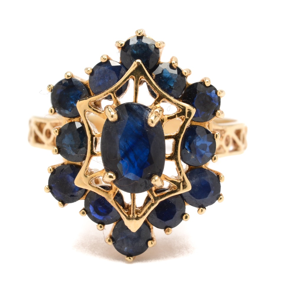 10K Yellow Gold Black Sapphire Ring
