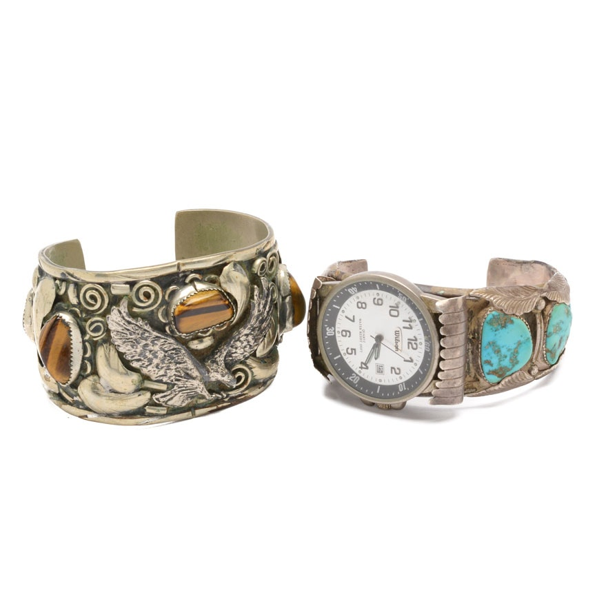 Sterling Silver and Turquoise Watch Cuff with Costume Jewelry Cuff