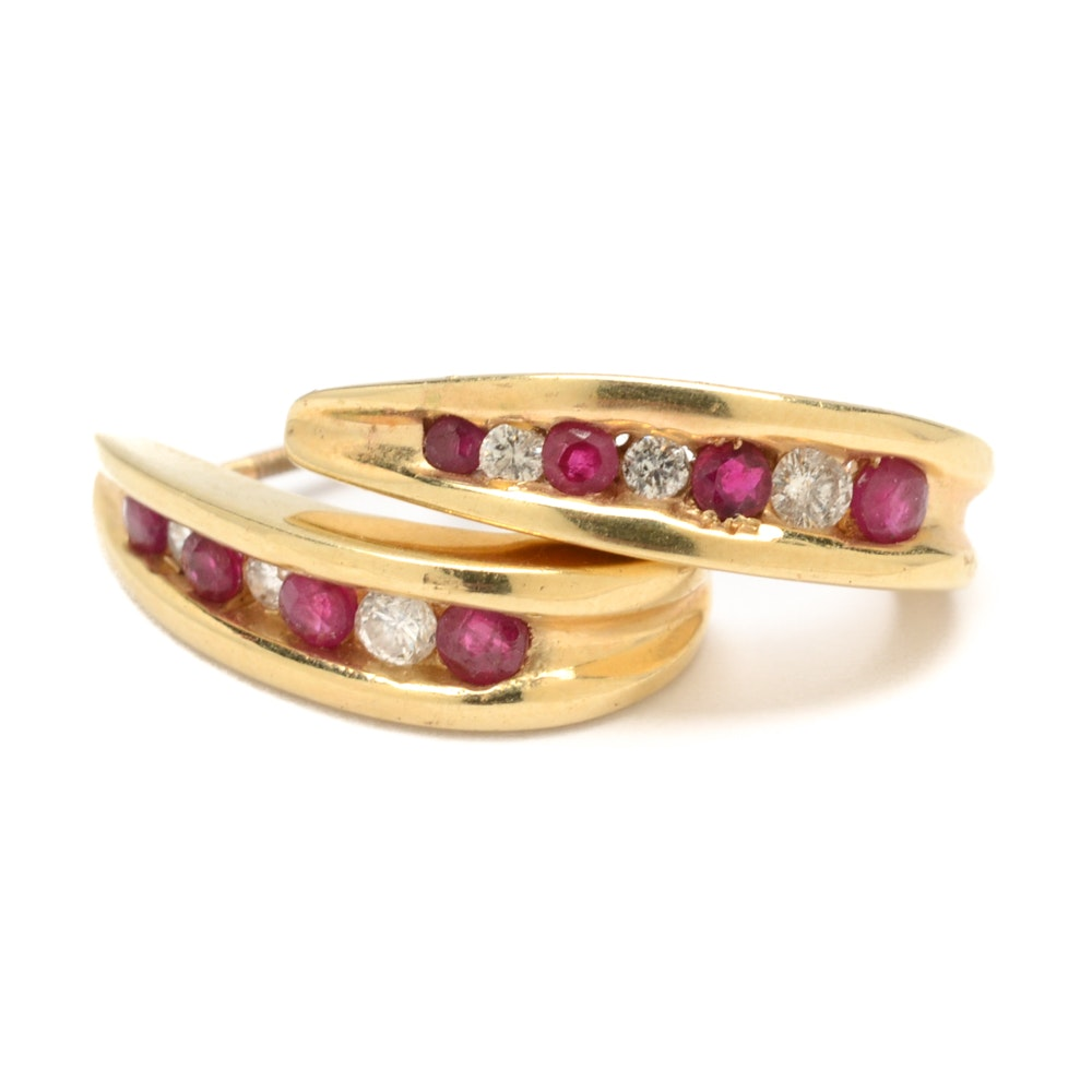 14K Yellow Gold Ruby and Diamond Half Hoop Earrings