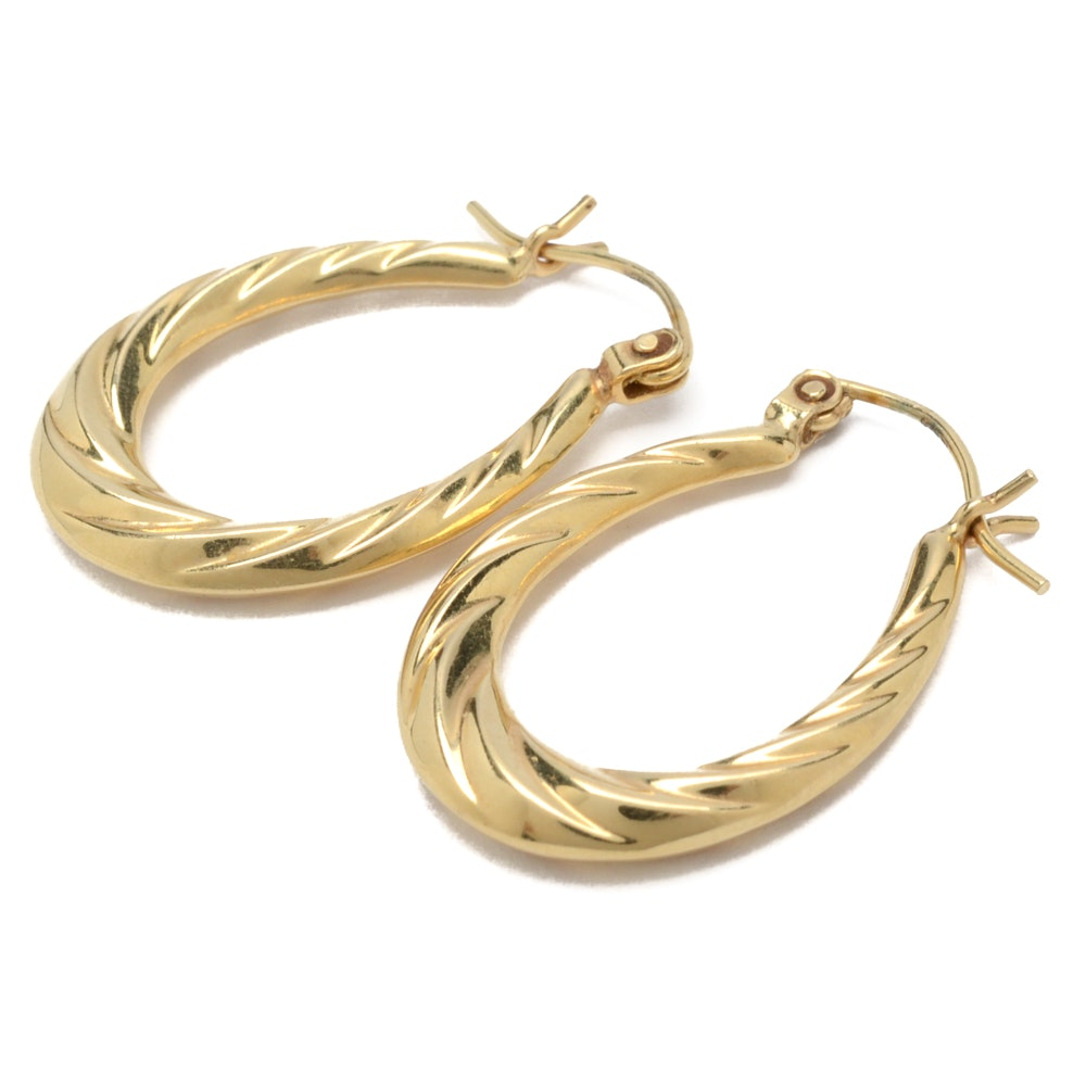 14K Yellow Gold Textured Oval Hoop Earring