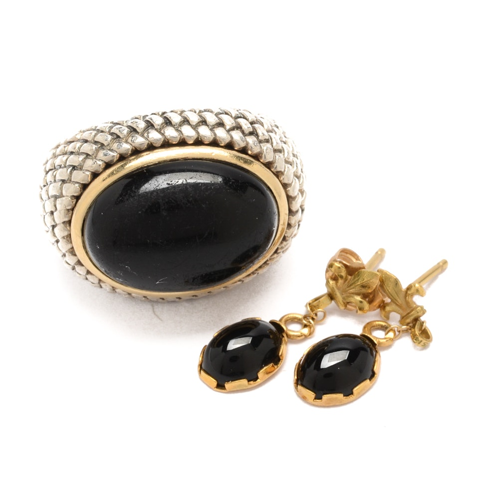 14K Yellow Gold and Sterling Silver Jewelry with Black Onyx