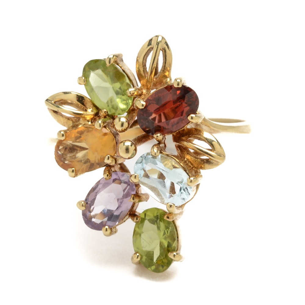 14K Yellow Gold Multi-Colored Gemstone Ring