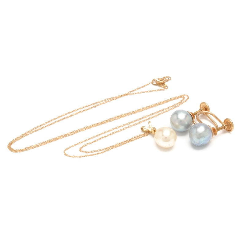 14K Yellow Gold Pearl Pendant Necklace Plus Pearl Earrings
