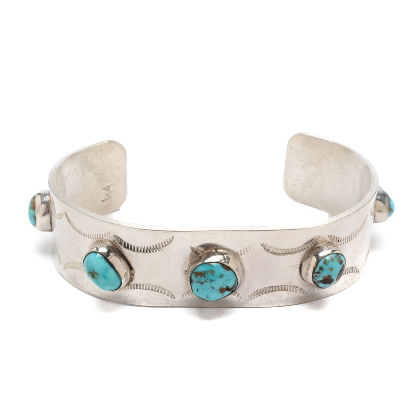 Sterling Silver and Turquoise Cuff Signed by Navajo Diné Wilbur Anderson