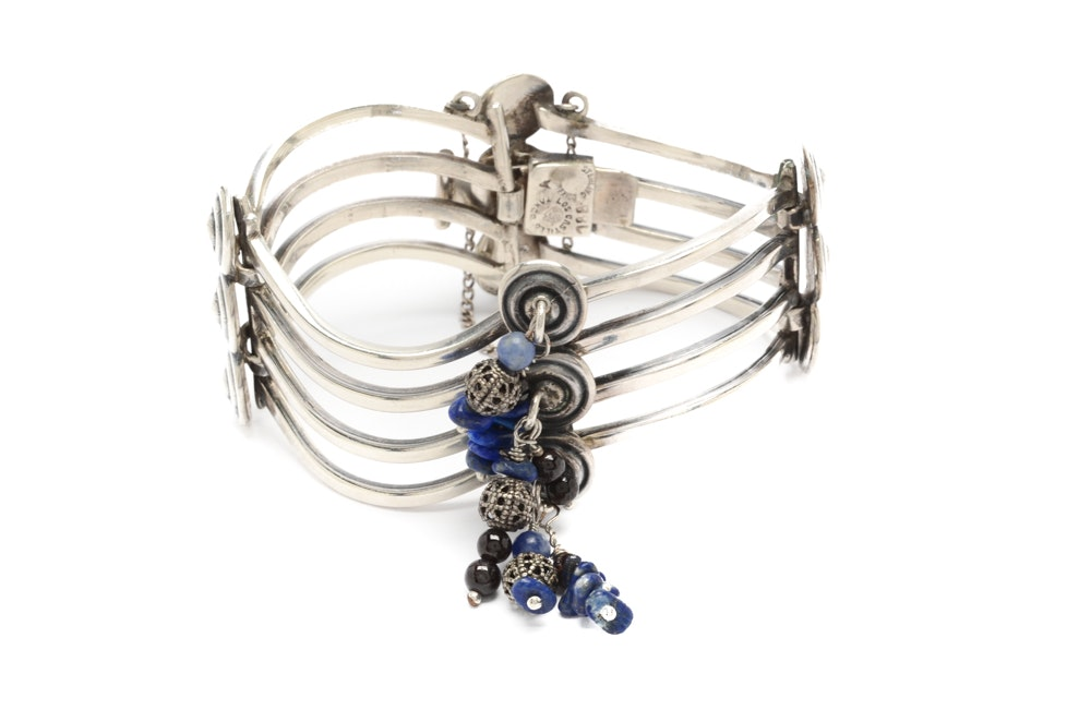 Los Castillo Taxco Sterling Silver Bracelet with Lapis and Garnet Beads