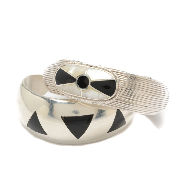Sterling Silver Black Onyx and Mother of Pearl Cuff Bracelets