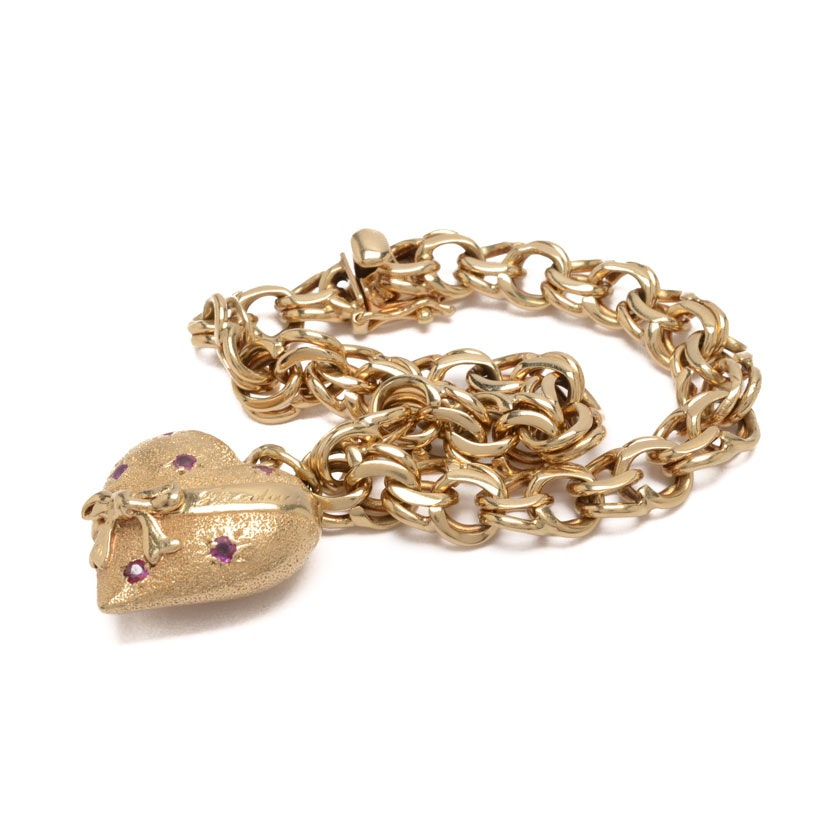 14K Gold Charm Bracelet with 14K Gold and Ruby Heart Charm