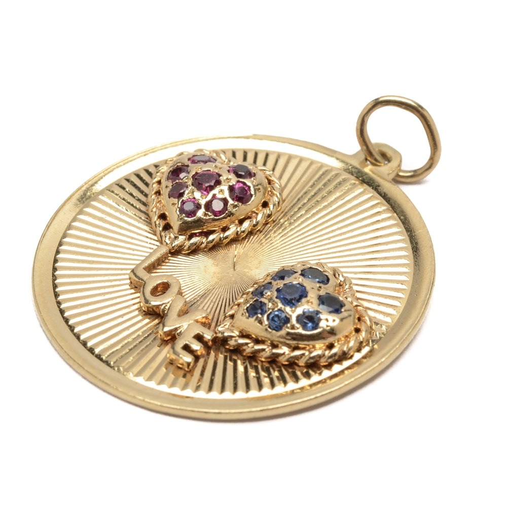 """14K Yellow Gold """"Love"""" Charm with Rubies and Sapphires"""