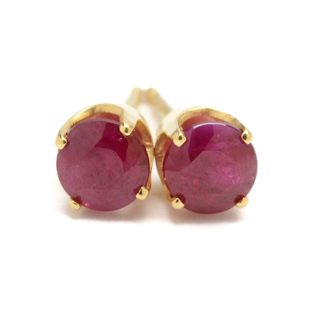 18K Yellow Gold and Ruby Stud Earrings