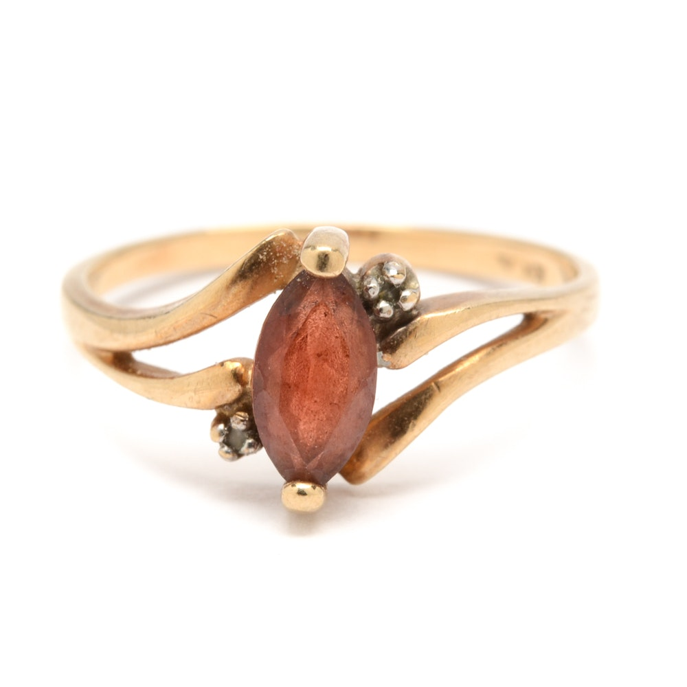 10K Yellow Gold Garnet Ring with Diamond Accents