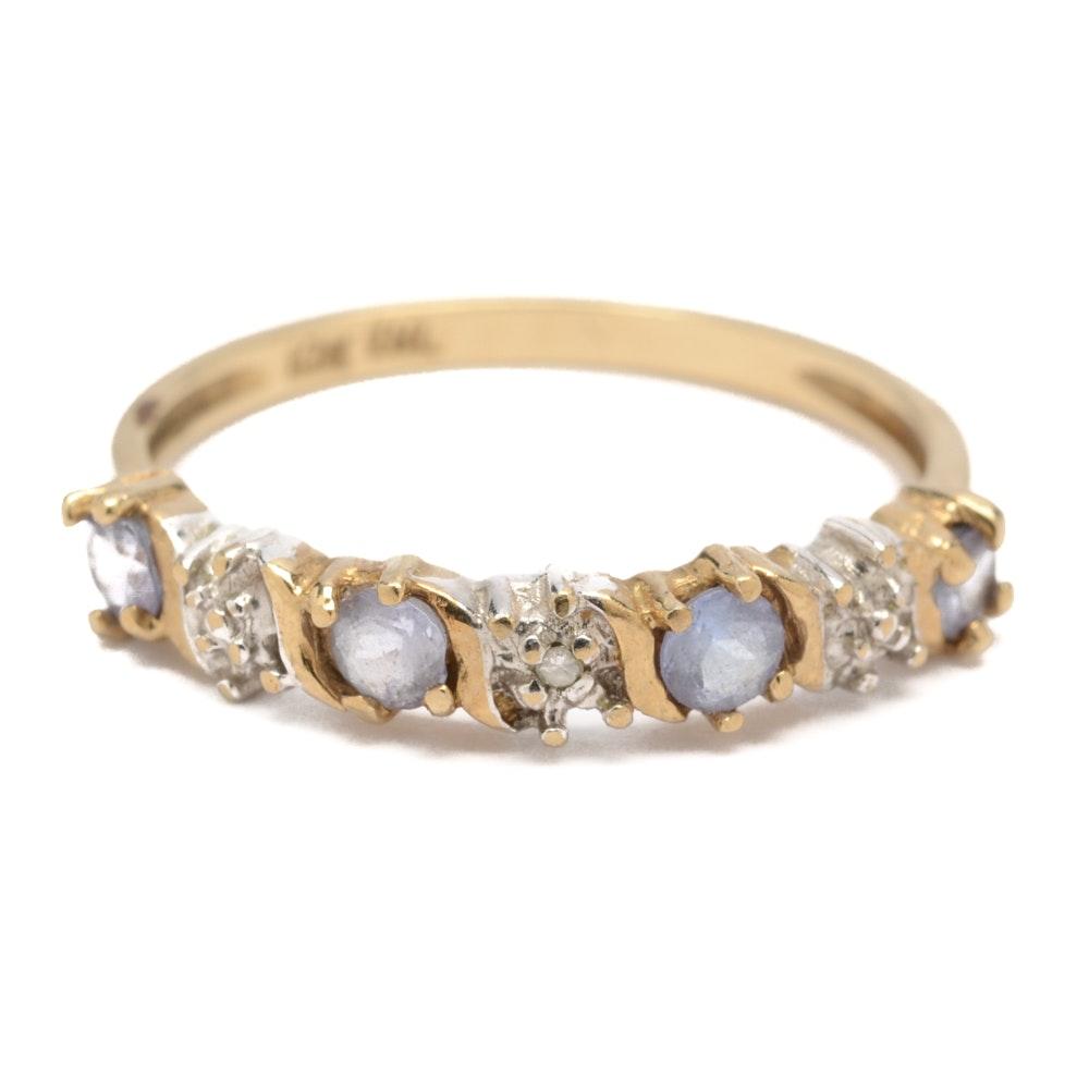 Samuel Aaron 10K Yellow Gold Diamond and Tanzanite Ring