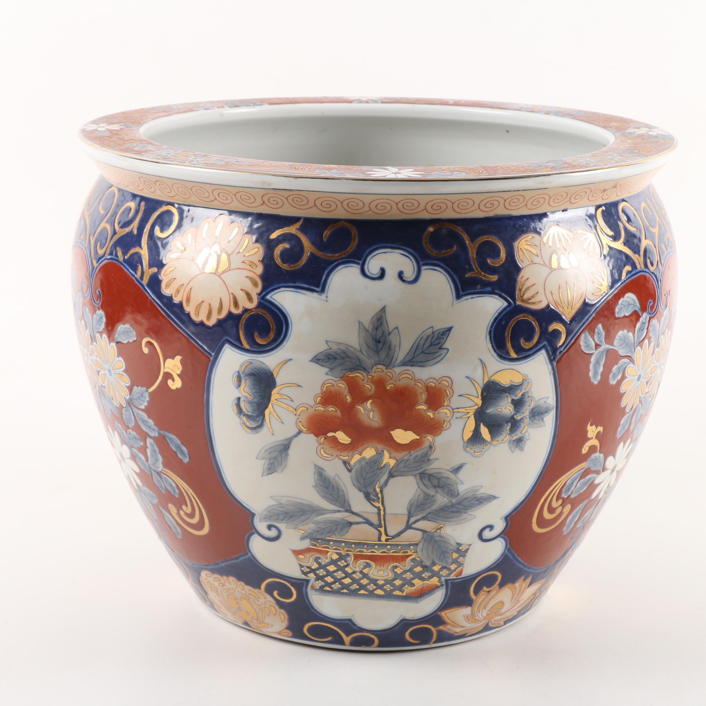 Contemporary Chinese Imari Style Fishbowl Planter