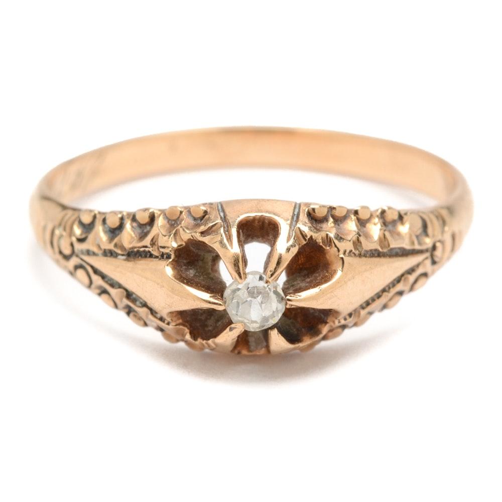 Antique 10K Rose Gold Diamond Ring