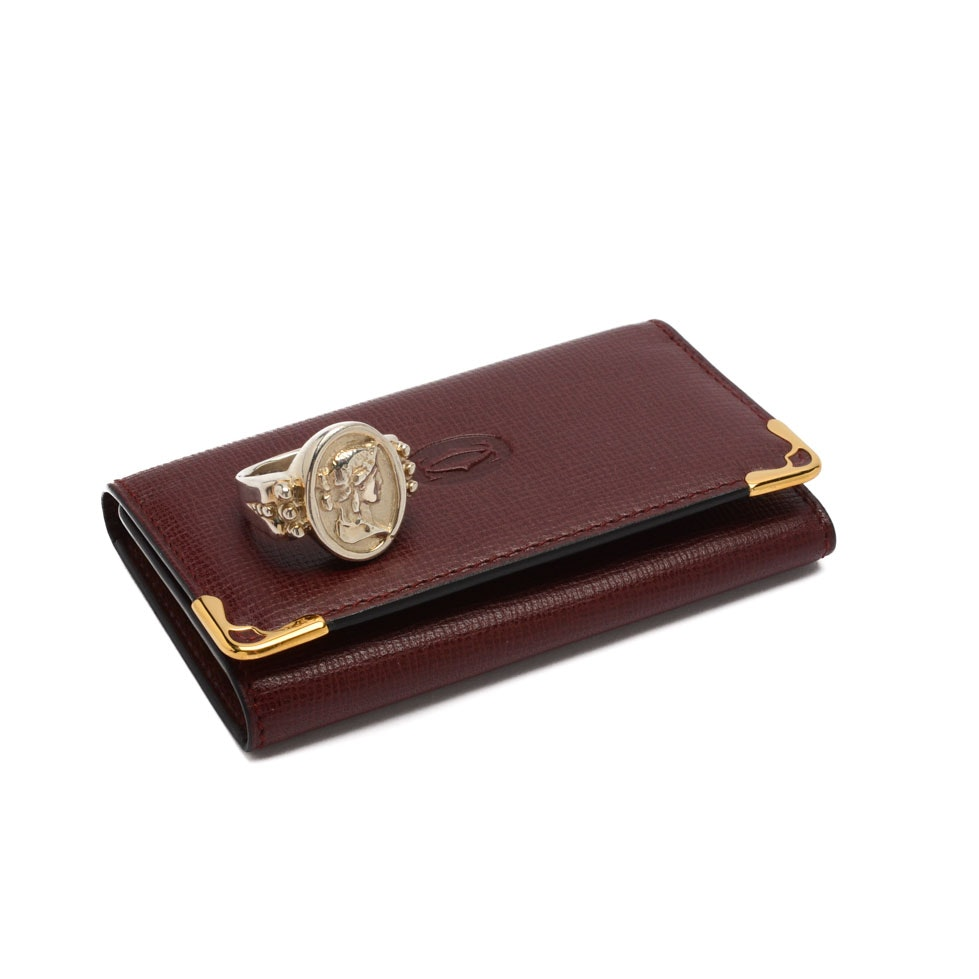 Cartier Leather Key Case with a Sterling Silver Seidengang Cameo Style Ring