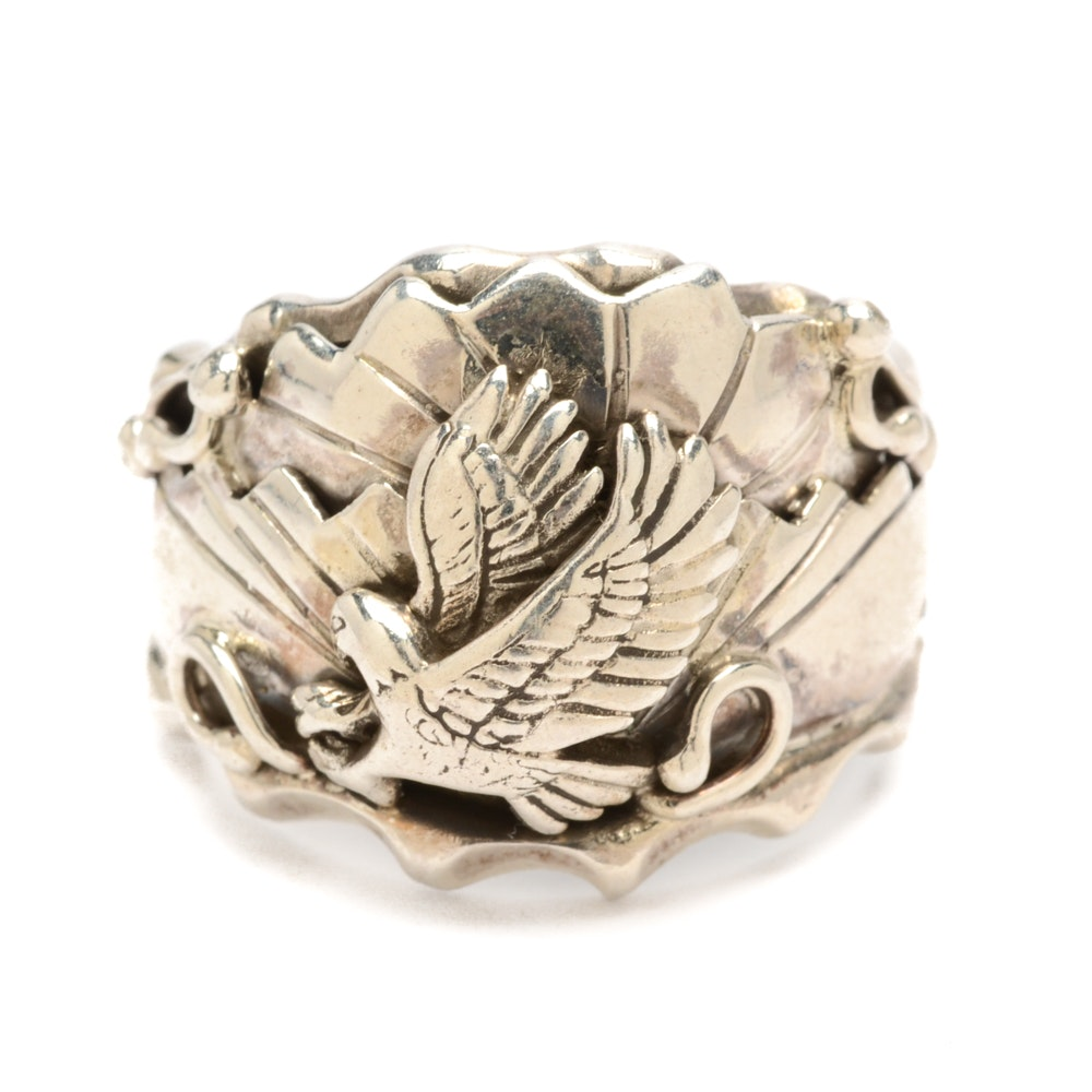 Sterling Silver Embossed Eagle Ring from the Running Bear Shop