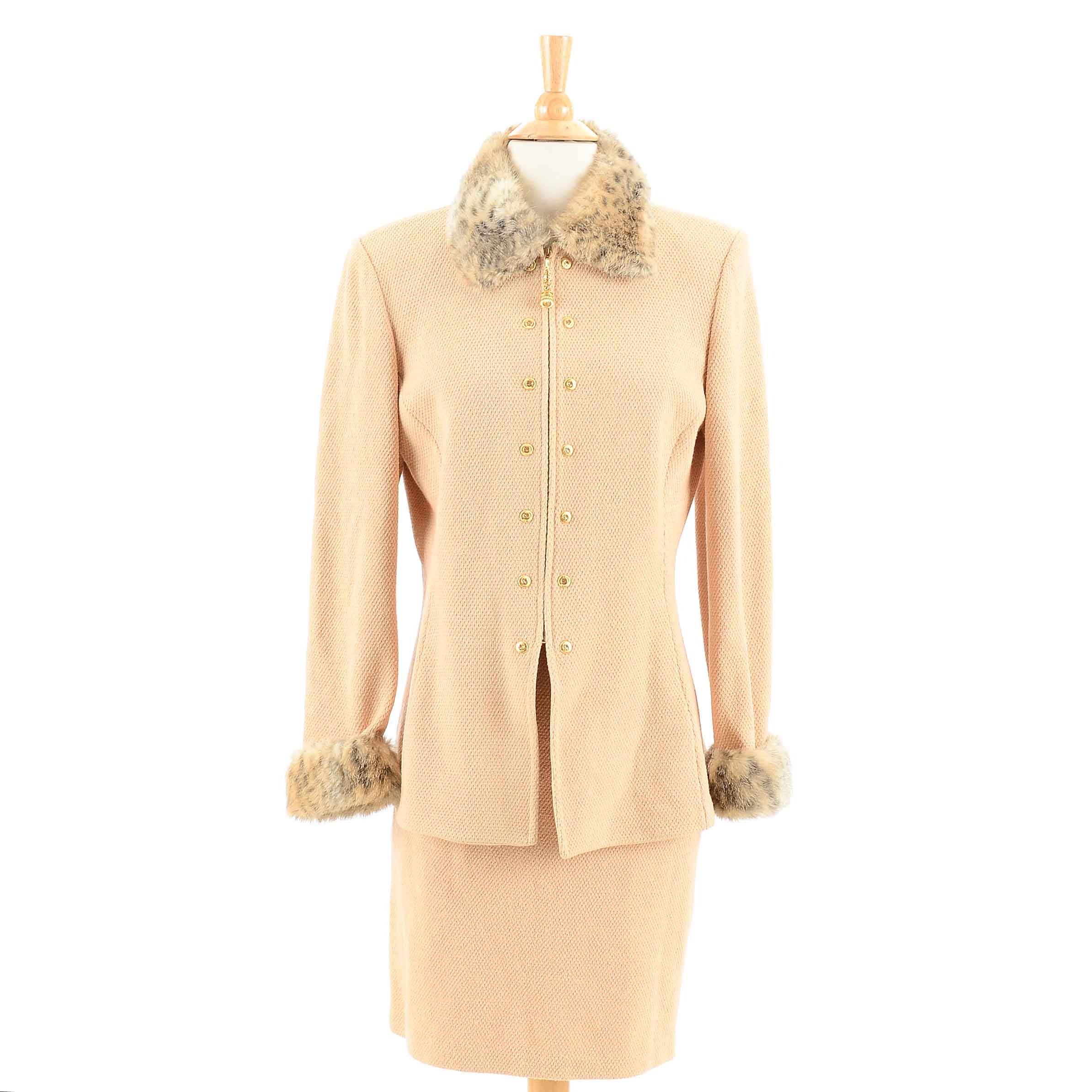 St. John Wheat Knit Suit with Removeable Faux Leopard Fur Collar