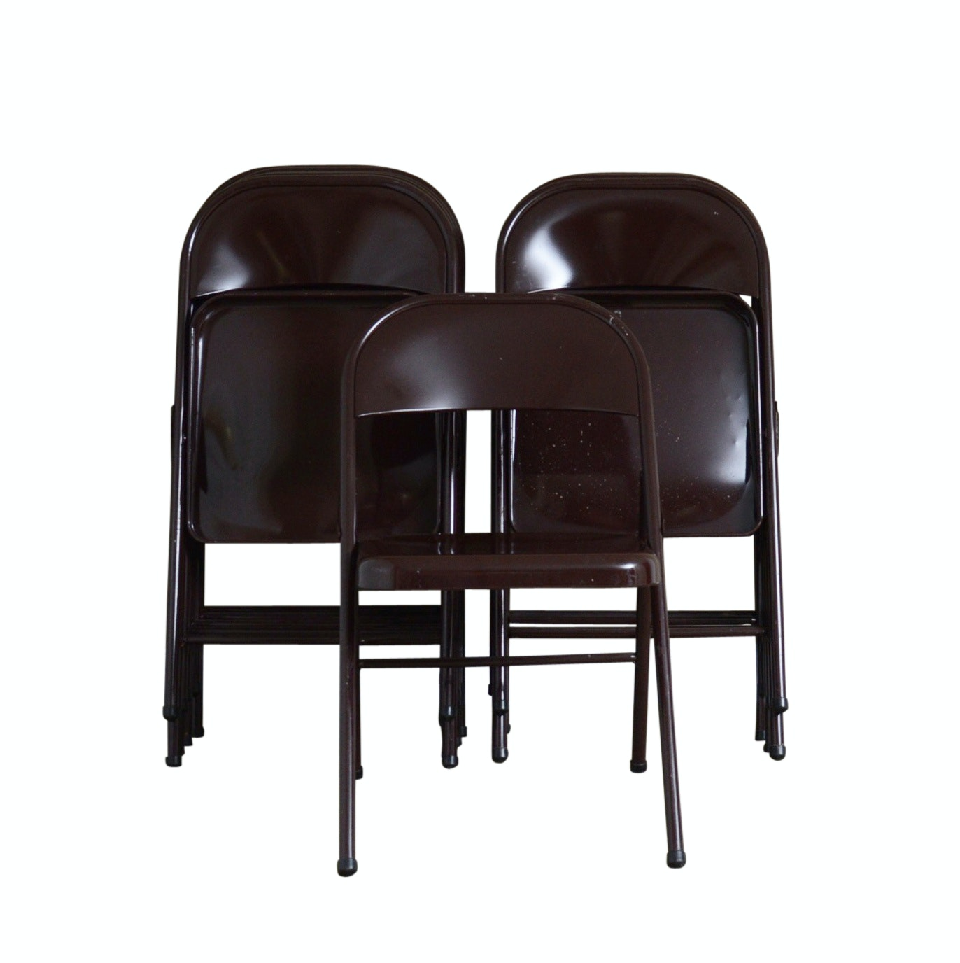 Grouping of Ten Brown Metal Folding Chairs