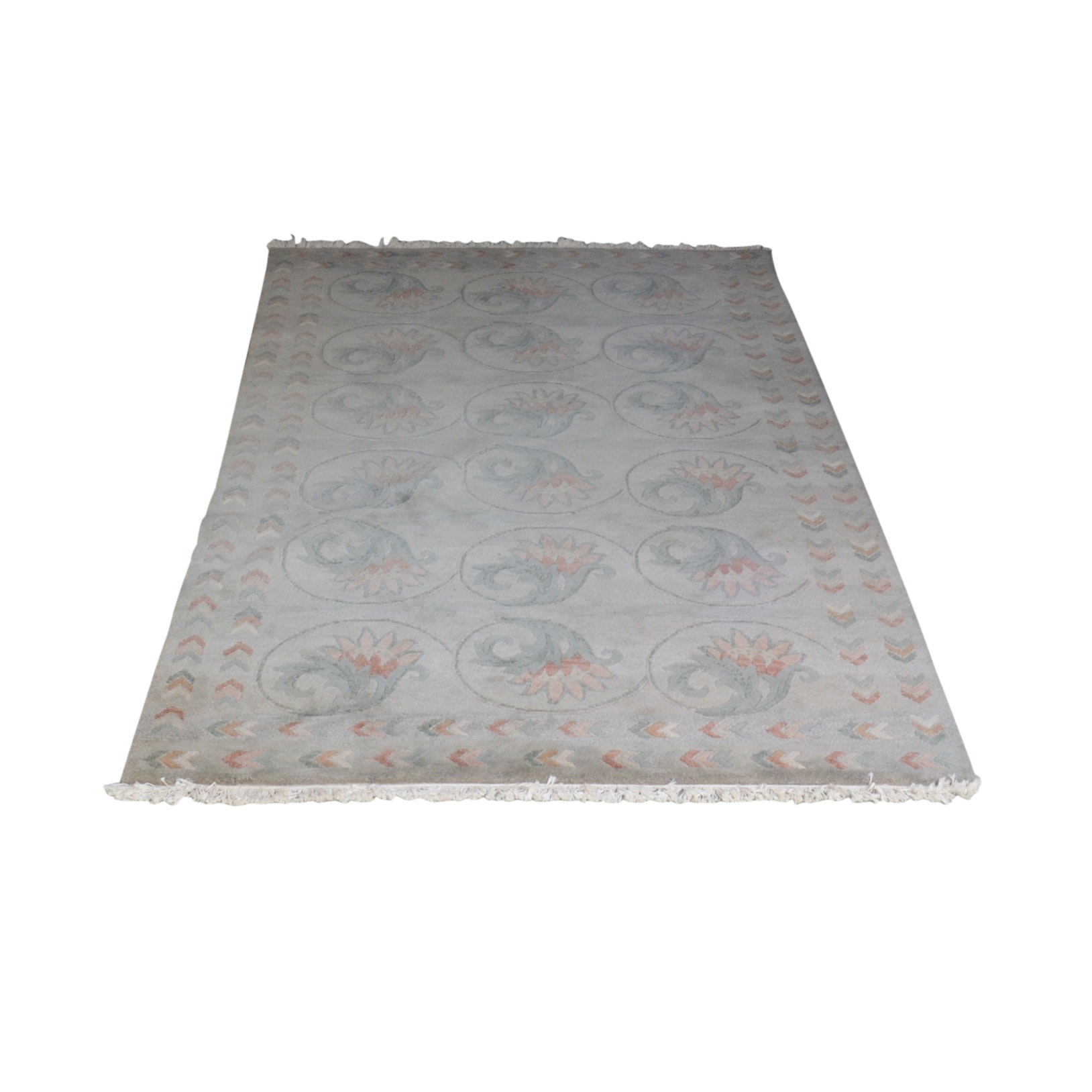 Handwoven Floral Wool Area Rug
