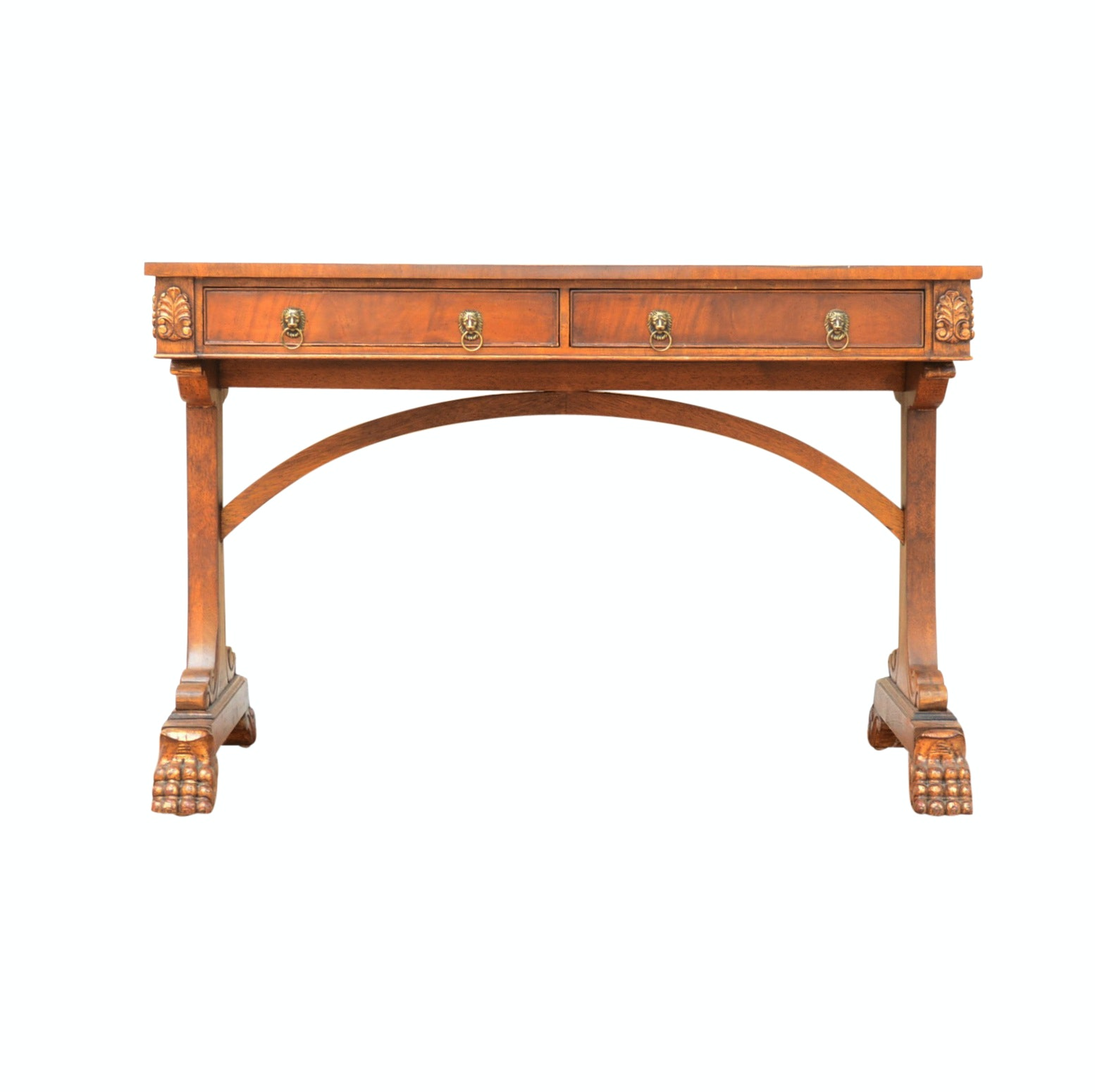 Contemporary Burl Wood Leather Top Student's Desk