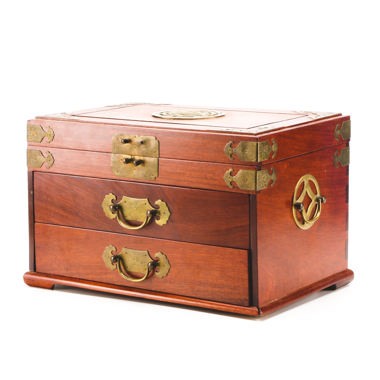 Chinoiserie Wood and Brass Jewelry Box