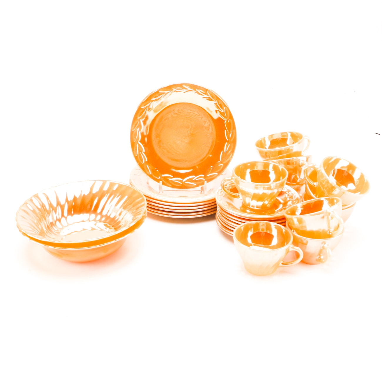 "Collection of Lustreware including Anchor Hocking ""Peach Lustre Royal"""