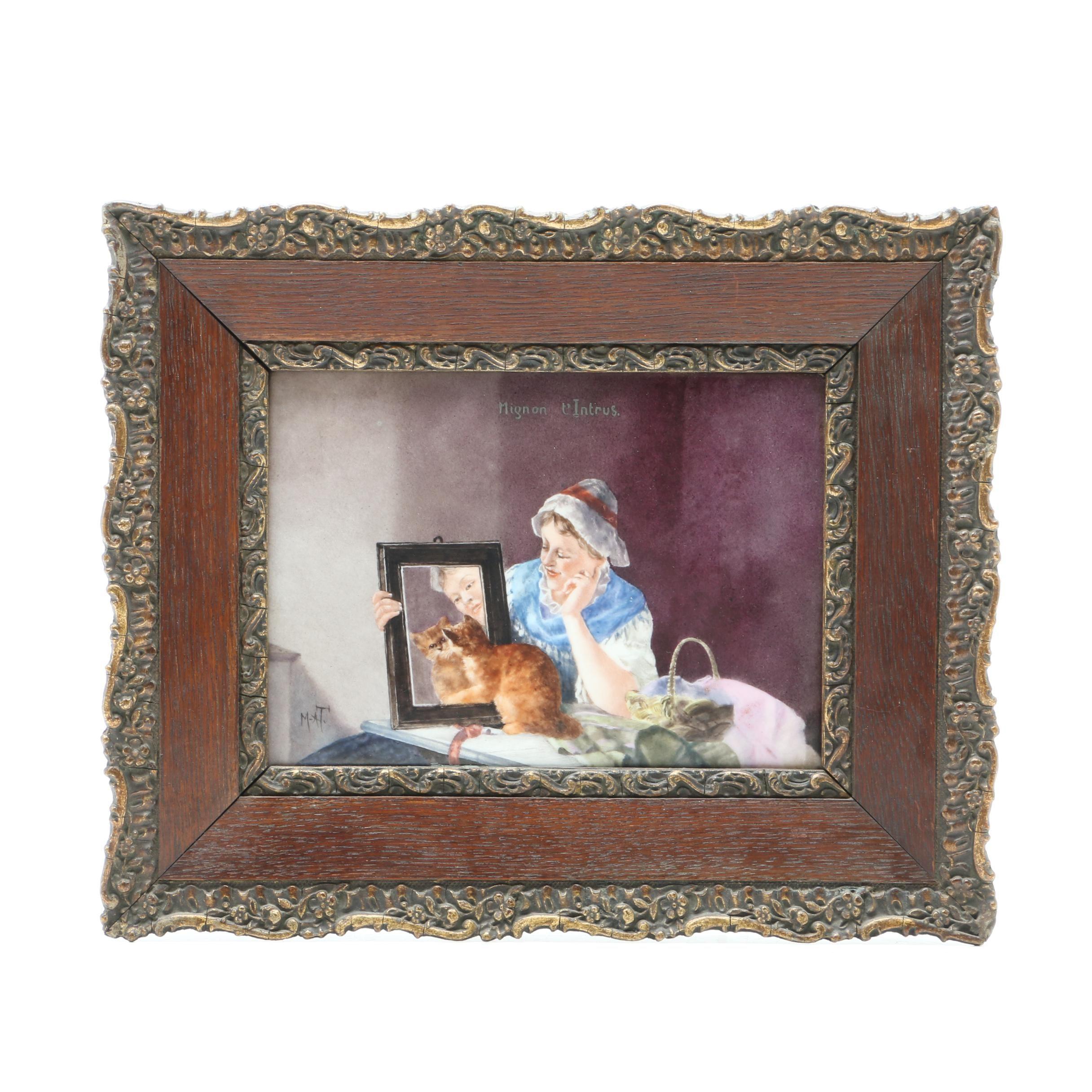 """Hand Painted and Signed Porcelain Portrait Plaque """"Mignon l'Intrus"""""""