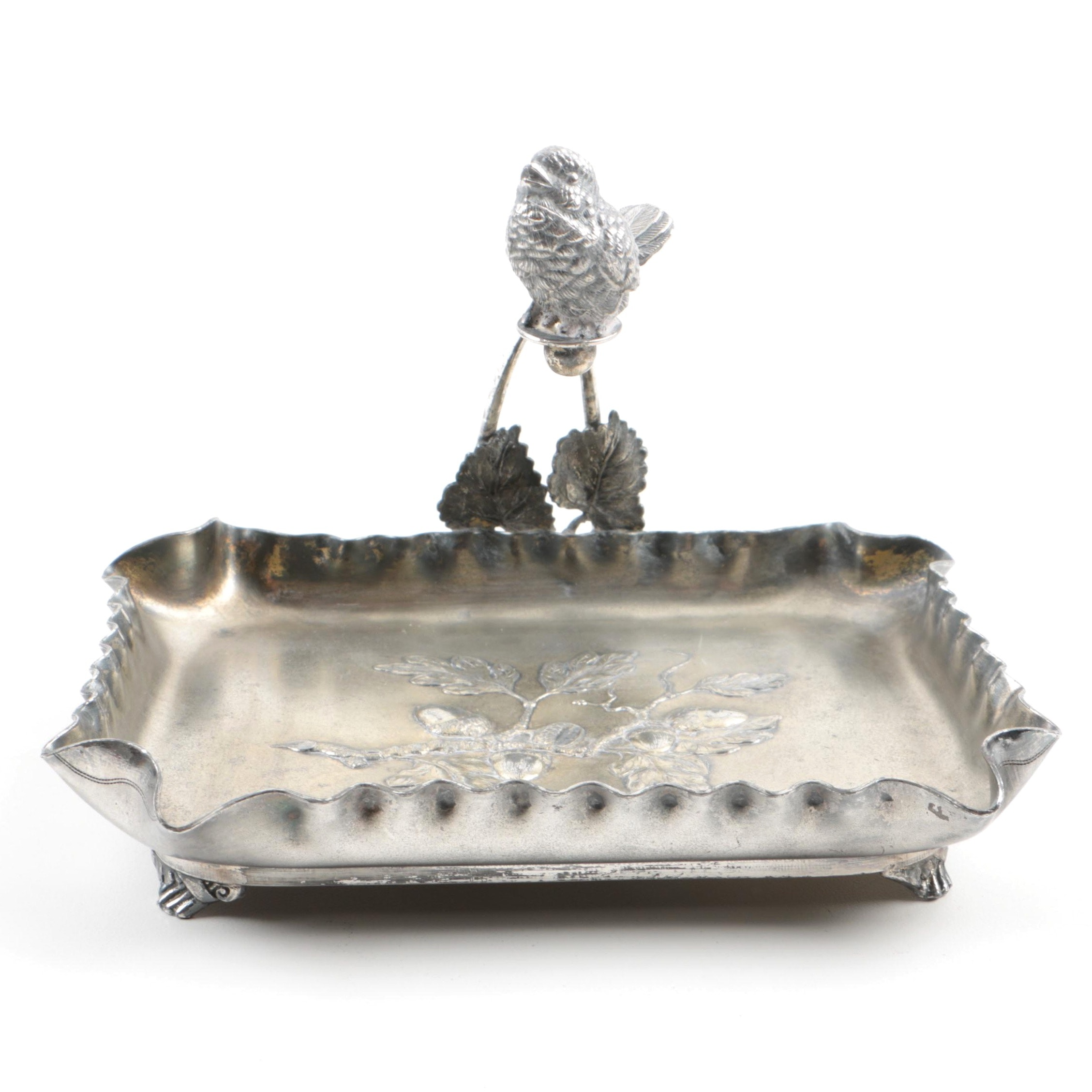 Pairpoint Silver Plate Calling Card Tray with Figural Bird Handle