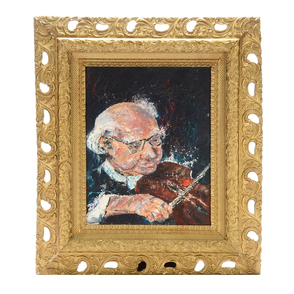 Contemporary Original Impasto Oil Portrait Painting on Canvas Board