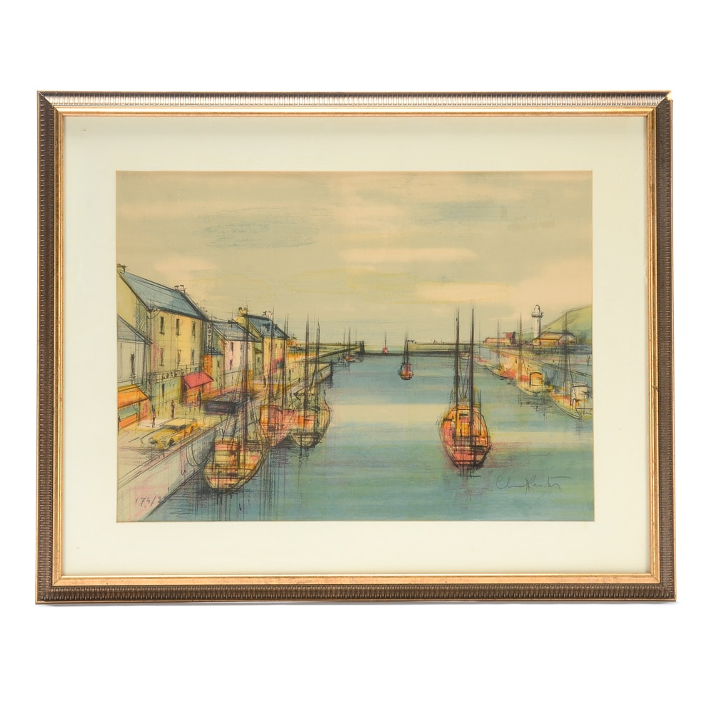 Mid-Century Signed Limited Edition Color Lithograph Harbor Scene