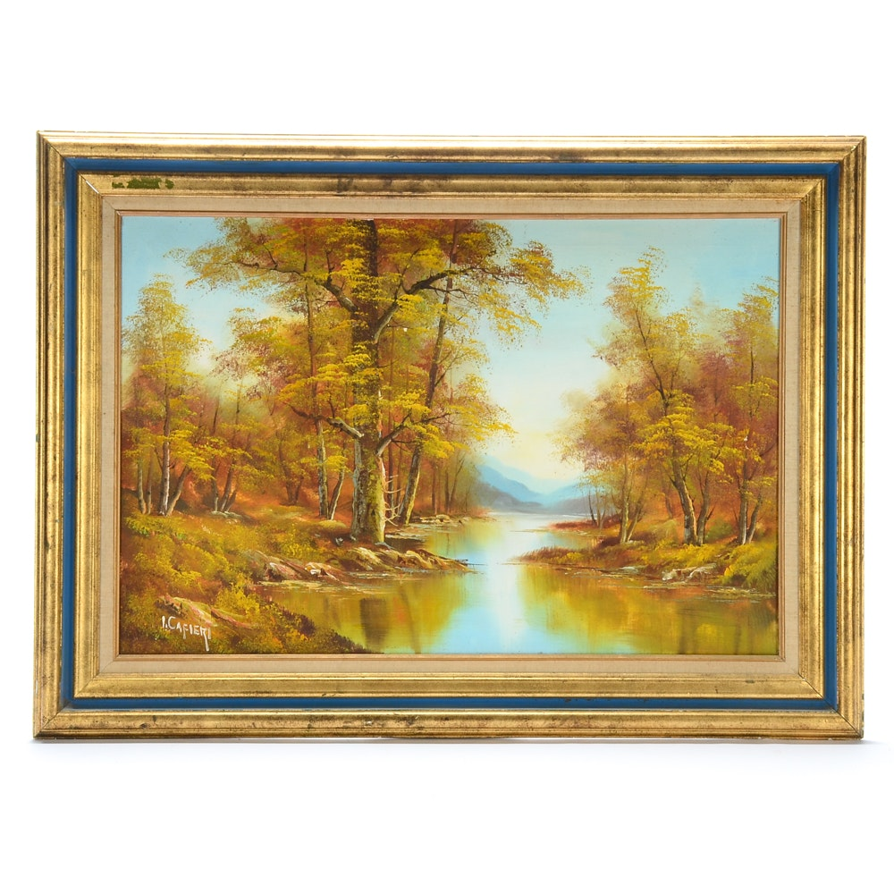 J. Cafieri Oil Painting on Canvas of Autumn Landscape