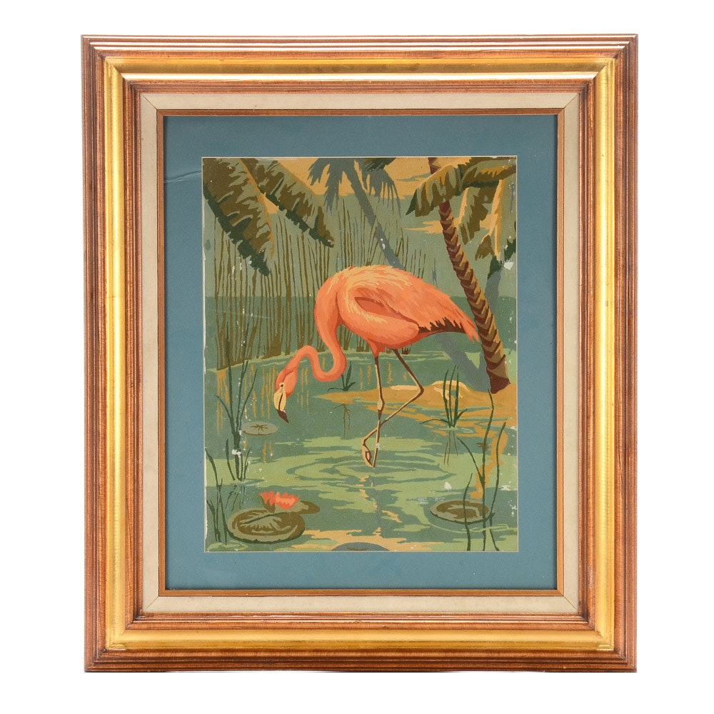 Vintage Paint-by Number of Flamingo