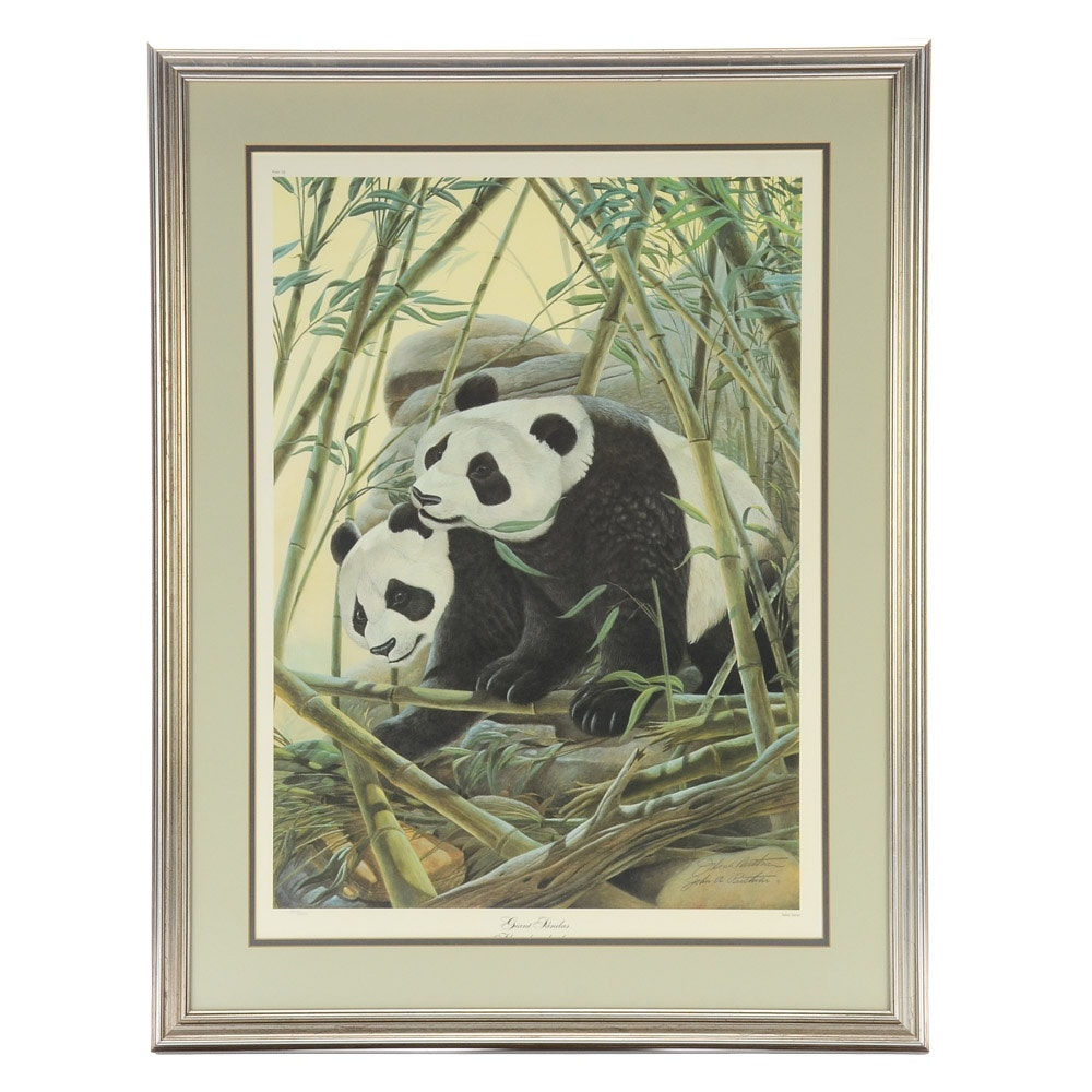 "John Ruthven Signed Limited Edition Offset Lithograph ""Giant Pandas"""