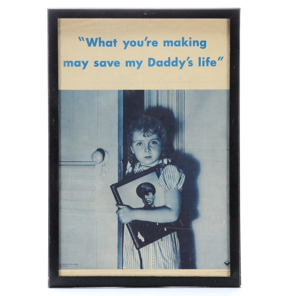 "Original 1942 World War II Propaganda Poster ""What You're Making May Save My..."""