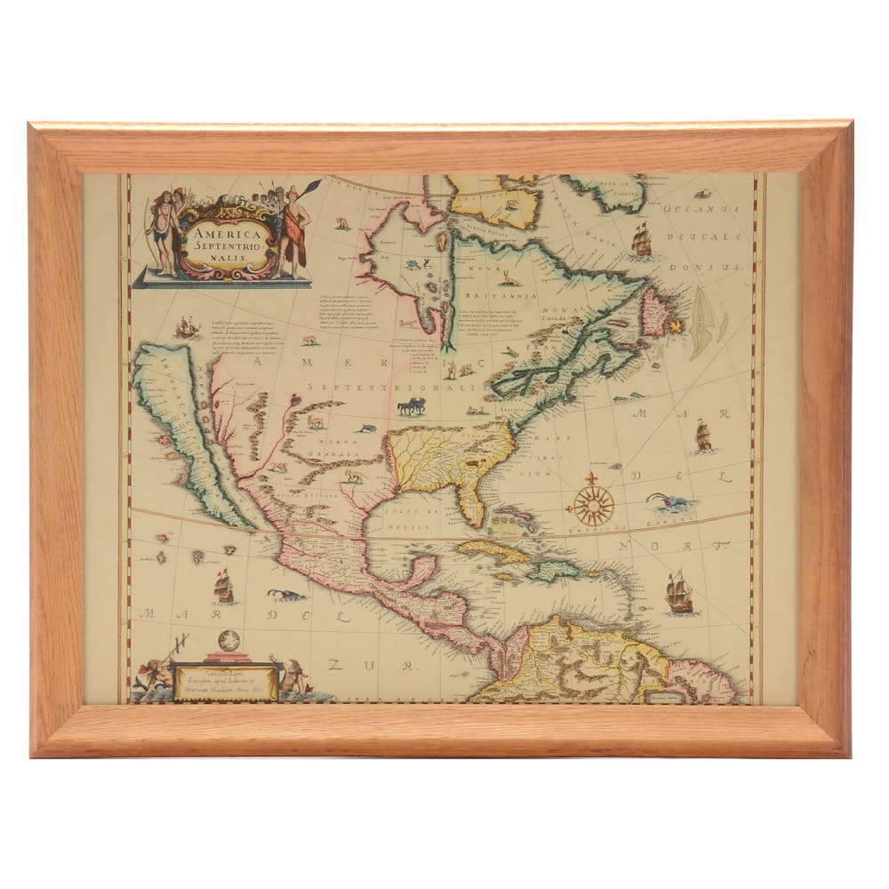 """Henricus Hondius and Jan Jansson Hand-Colored Map Engraving """"America Septent...."""