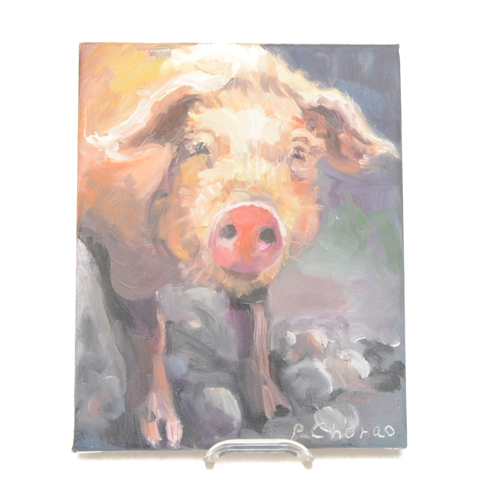 P. Chorao Original Oil Painting on Canvas of a Pig