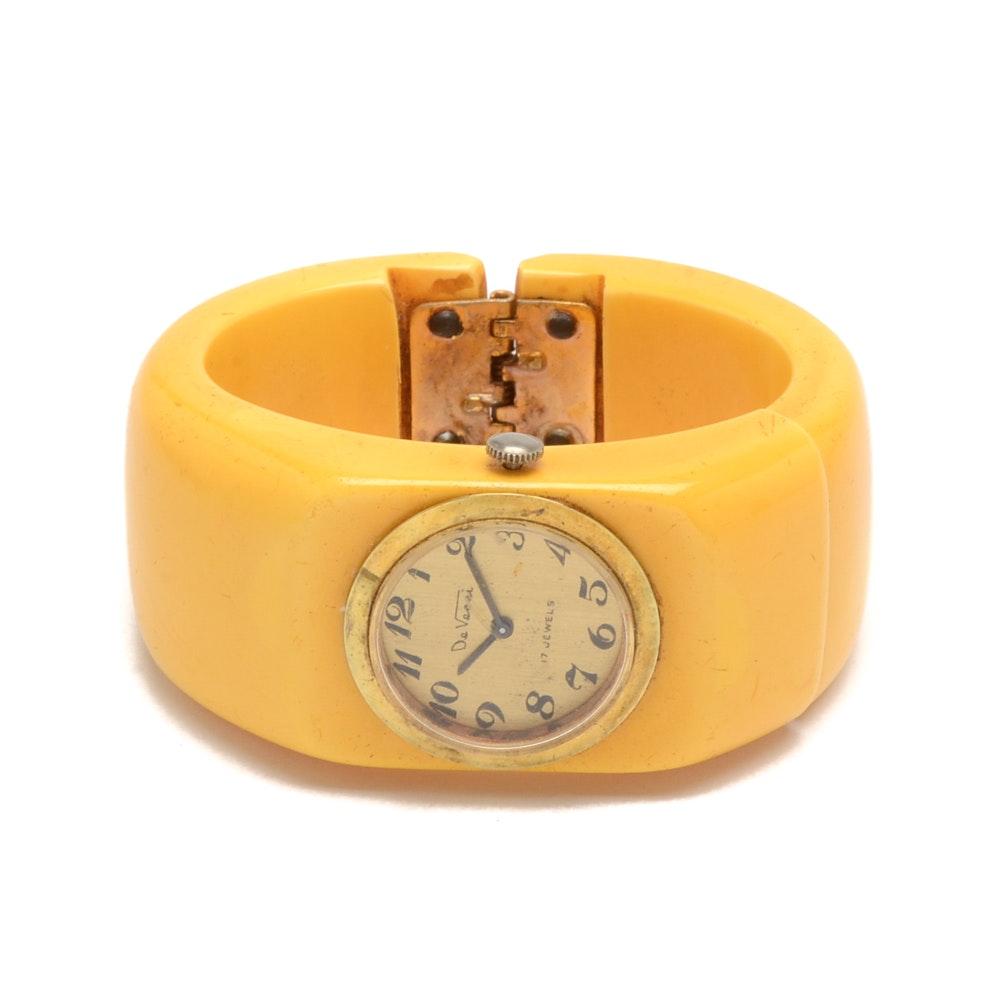 Vintage De Vecci Yellow Bakelite Clamper Wristwatch