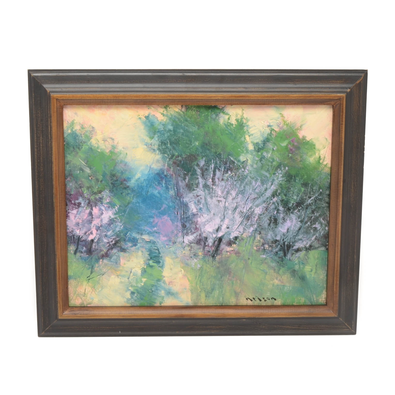 "Thomas Nelson Original Oil Painting on Canvas Board ""Blooming Crabapple"""