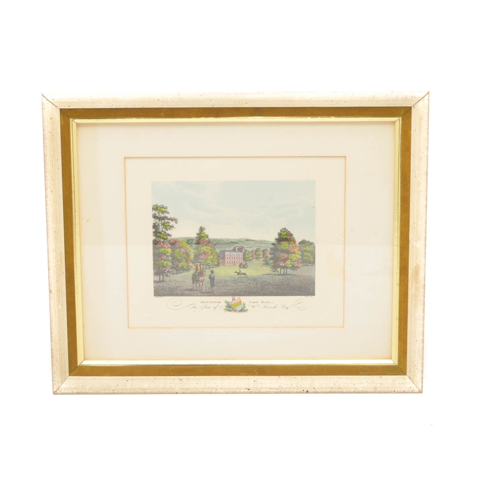 """Hand-colored Lithograph Print """"Beaumanor Park Hall"""""""