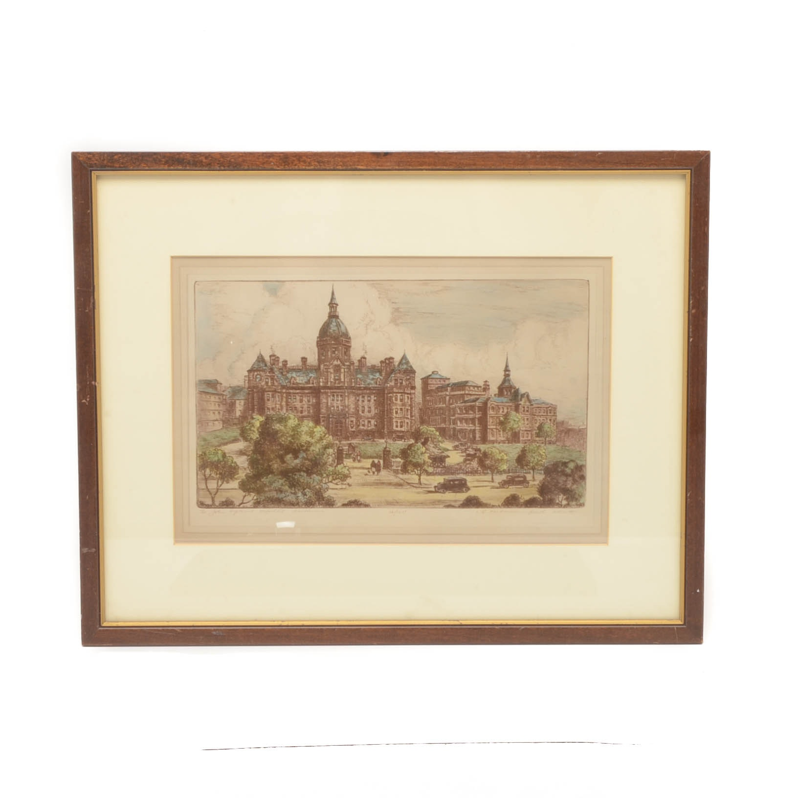 Robert Herdman-Smith Hand-colored Etching of Johns Hopkins Hospital