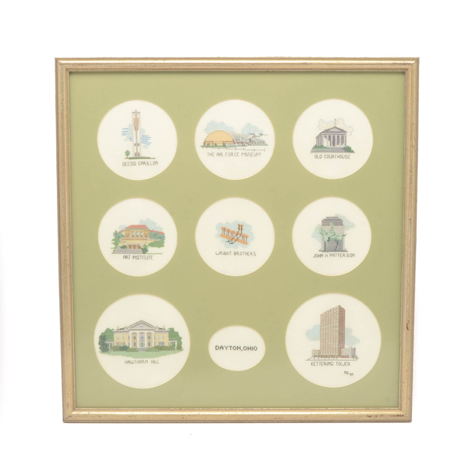 Signed Handmade Cross-Stitch Embroidery of Dayton Ohio Landmarks