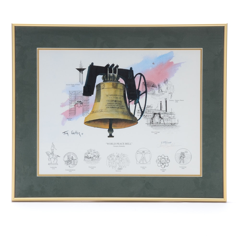 "Tom Gaither Signed Limited Edition Offset Lithograph ""World Peace Bell"""