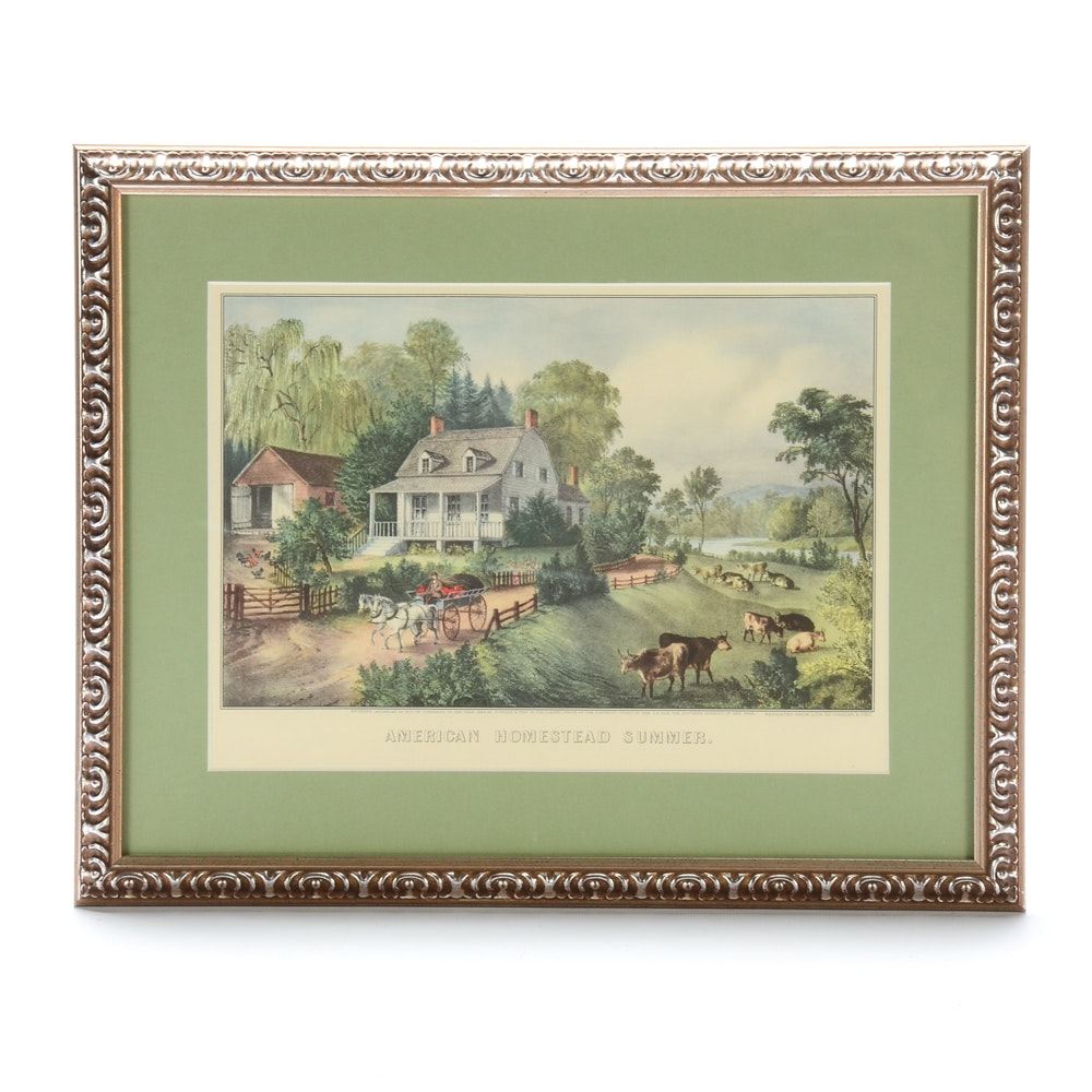 """Offset Lithograph after Currier & Ives """"American Homestead Summer"""""""